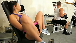 Delicious sport chick Violet Starr is fucked by hot blooded hung at the gym