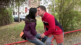 Skanky brunette chick Angelina is getting her shaved coochie polished