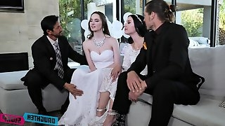 Hot foursome on the sofa with bride to be Jazmin Luv and Hazel Moore