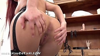 Hot Redhead Gags On Hard Cock