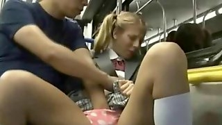 White Coed Gets Fingered in a Tokyo Bus!